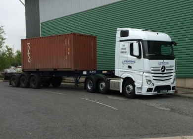 A container arriving at our Hinckley head office